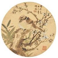梅雀图团扇 by hu tiemei