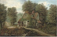feeding the hens outside the watermill by edward priestley