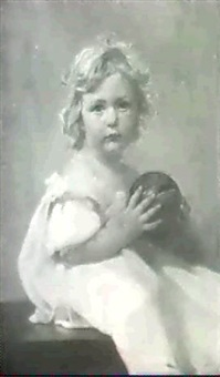 sitzendes junges madchen in weissem kleid und einem bunten ball in den handen. by alfred hoehn