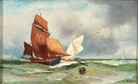 stürmische marine mit segelbooten by charles hoguet