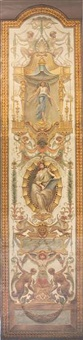 untitled (various capricious figures amid festoons of drapes and flowers) by alberta buccini