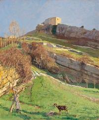 landschaft um den gardasee an einem sonnentag, im vordergrund hirtin mit ziege by hans lietzmann