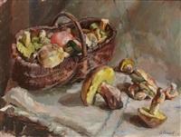 stilleben mit pilzen und weidenkorb by sinaida josipowa sokolova