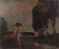 kentaur mit nymphe in abenddämmerung by adolf frey-moock