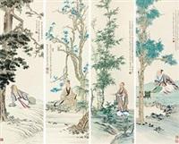 高士 (in 4 parts) by ren zhong