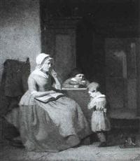 in einer stube sitzt eine frau und erzählt ihren kindern eine geschichte by j. c. manrel