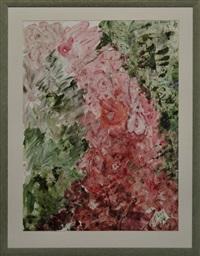 abstrakte komposition mit blumen in rot und grün by michaela krinner