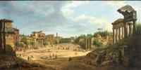 blick auf das forum romanum an einem prachtvollen sommertag mit zahlreicher figurenstaffage by f. annitti