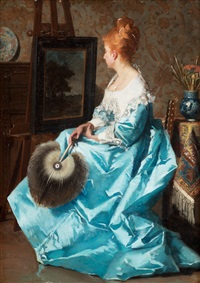 kvinna i blå känning framför ett staffli by jean de la hoese