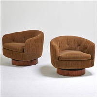 swivel lounge chairs (pair) by milo baughman