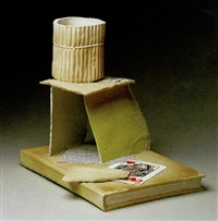still life with a card and a house-of-scraps on a book by richard shaw