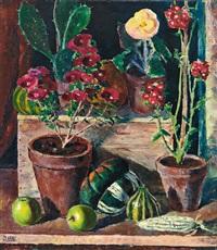 stilleben mit topfpflanzen, kaktus, kürbissen und äpfeln by jean lehmann