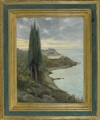 südliche küstenlandschaft mit zypressen by curt agthe