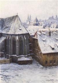stadtansicht mit blick auf gotischen chor einer kirche by wilhelm georg ritter