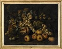 stilleben med äpplen och druvor by bartolomeo arbotori