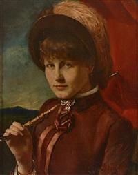 portrait einer jungen frau mit hut und aufgespanntem sonnenschirm by max kahn