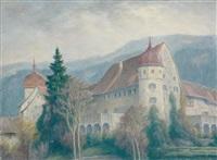 blick auf das deuringschlösschen und den martinsturm in bregenz, im hintergrund der pfänder by karl eyth