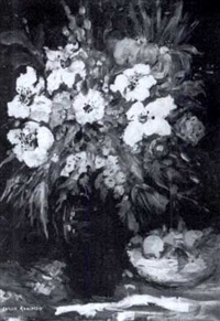 still life of flowers in a vase by lazlo kadlacskik