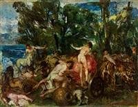 bacchanal mit zentauren, faunen und nymphen am ufer eines sees by giuseppe rivaroli