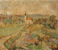 weite landschaft mit kirche by rudolf grossmann