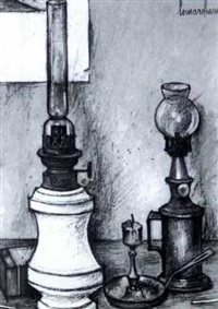 still life with lamps by paul lemarchand