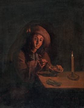 bildnis eines mannes mit schlapphut eine schale mit glut in händen haltend by pieter cornelisz van slingeland