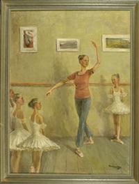 ballettstunde - die ballettlehrerin zeigt ihren schülerinnen eine figur by konstantin alexandrovich danilov