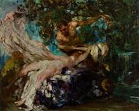mythologische szene mit satyr und nymphe by giuseppe rivaroli