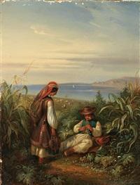 dalmatinische küste mit paar in tracht by eugen adam
