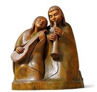 musizierendes paar mit flöte und laute by fidelis bentele