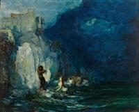 faun und nymphen an einer steilküste mit malerischer burg by giuseppe rivaroli
