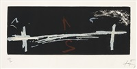 double croix (sold with 260b, c, d&e; set of 5) by antoni tàpies