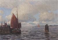 ankernde boote in der nordsee by franz korwan