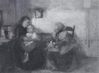zwei frauen mit kind in der stube by otto heichert