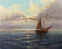 fischerboot im abendrot by arthur tomson
