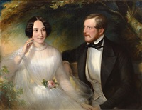 portrait und brautbild von eugen und francisca kraetzer-roeder. das brautpaar auf einer bank im park by eduard von heuss