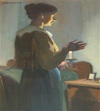 portrait einer jungen frau mit kerze by lena baurnfeind