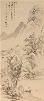 landscape with scholars by kaioku