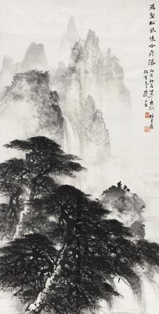 松风猿吟图 landscape by li xiongcai