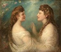 portrait der schwestern elisabeth und sofie kraetzer, geb. 1849 und 1850 in mainz by eduard von heuss