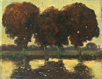 abend. teichlandschaft mit prachtvollen bäumen im abendlichen gegenlicht by hermann von le suire
