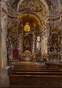 blick in die asam-basilika zu osterhofen by rudolf huthsteiner