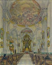 blick in eine süddeutsche/alpenländische barockkirche by franz herda