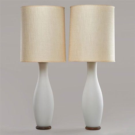 Frosted Glass Table Lamps Pair By Paul Hanson On Artnet
