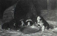 puppies in a stable by franklin whiting rogers