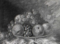 tabletop still life of peaches and grapes by charles armor