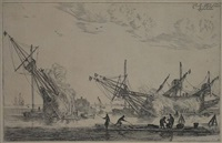 three flute-ships being caulked, left one seen on stern, right two vessels (from naval harbours with shipbuilding) by reinier nooms