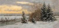 winterlandschaft, an der aich mit blick auf nürtingen und die alb by julius kornbeck