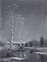 birken am teich in vorgebirgslandschaft by hans k. baier