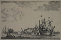 two ships near a breakwater for repair, one is being caulked, left a rowing-boat (from naval harbours with shipbuilding) by reinier nooms